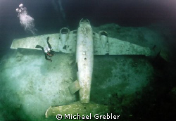 Diver &amp; airplane in Morrison's Quarry. Photo taken direct... by Michael Grebler 
